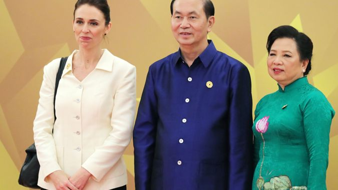 Jacinda Ardern with Vietnam's President Tran Dai Quang with wife Nguyen Thi Hien. Photo/Getty