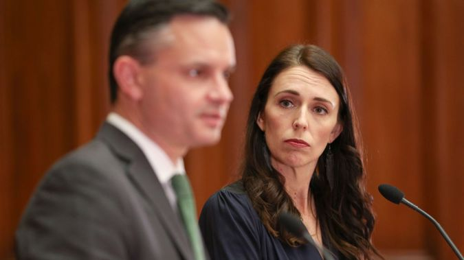 Jacinda Ardern and Green Party Leader James Shaw as they sign their confidence and supply deal. Photo/Getty