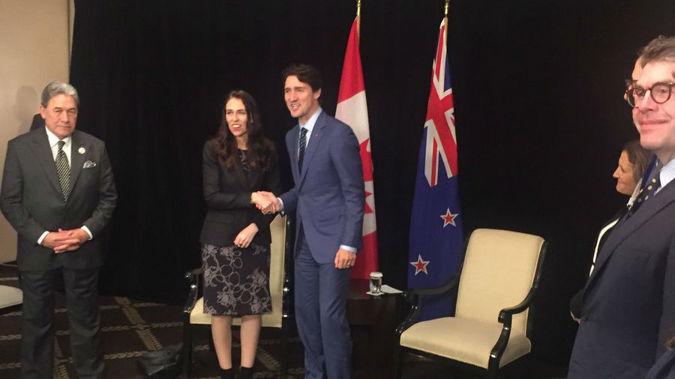 Winston Peters, Jacinda Ardern and Justin Trudeau. Photo/Barry Soper