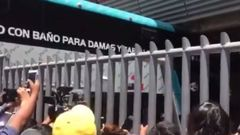 The All Whites team bus gets stuck at the venue for tomorrow's playoff against Peru in Lima.