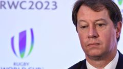 South Africa Rugby CEO Jurie Roux after the Rugby World Cup 2023 host union announcement. (Photo \ Getty Images)