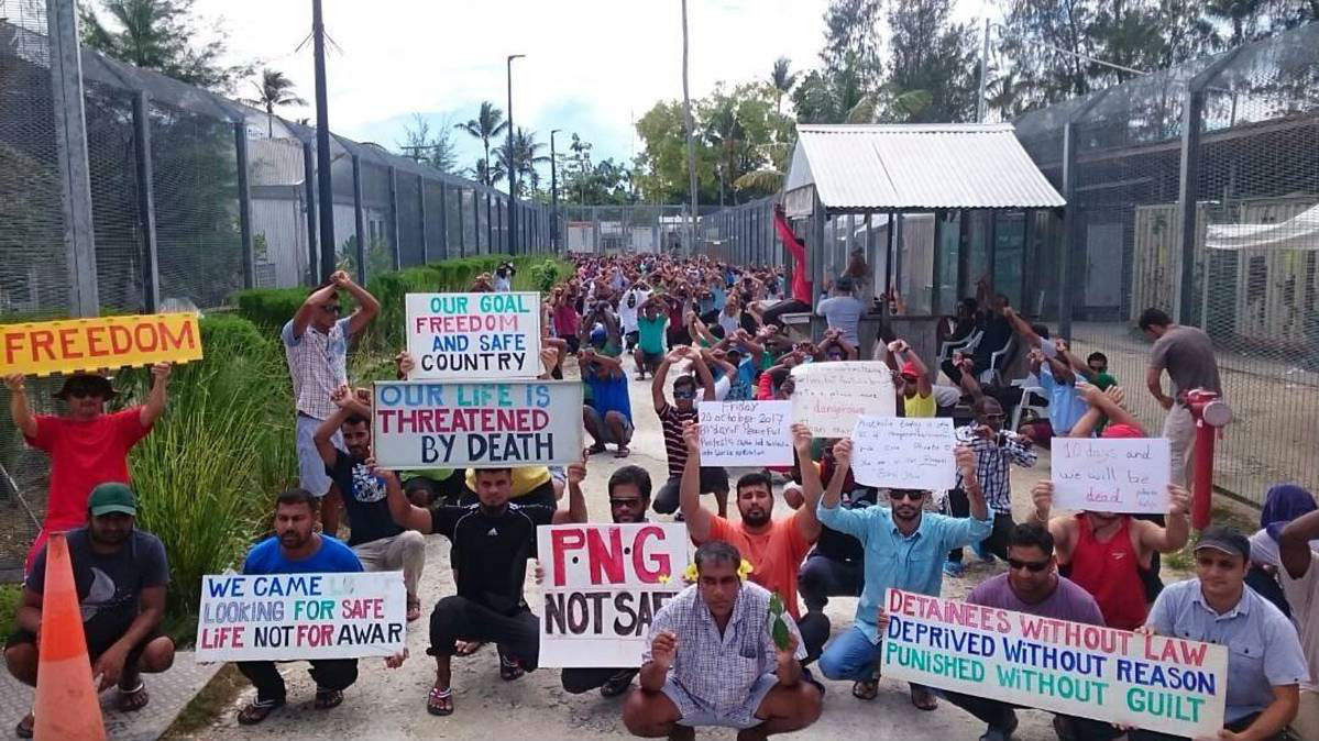 Protesters on Manus Island. Photo/File