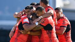 Tonga continue to make history at the Rugby League World Cup as they beat Lebanon 24-22 in their quarter-final in Christchurch. (Photo / Getty Images)
