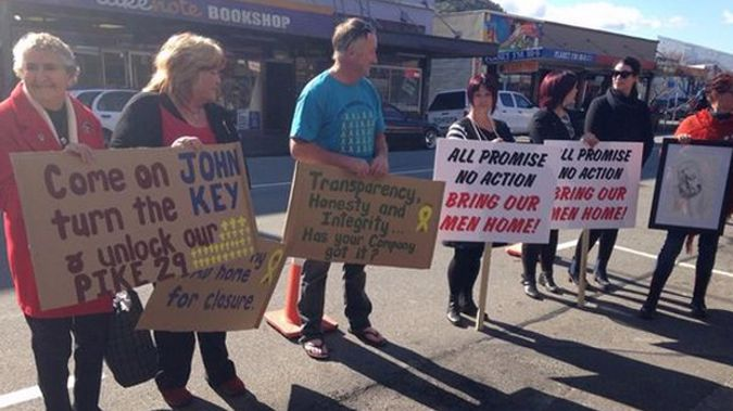 The families of the victims have protested for years to get the mine unlocked. (Photo / Newstalk ZB)