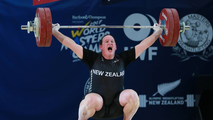 Transgender athlete Laurel Hubbard competing today in the weightlifting compeition of the World Masters Games at AUT Millennium in Auckland. (Doug Sherring)