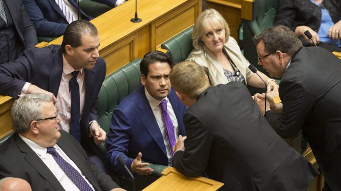 National's shadow Leader of the House Simon Bridges and the Leader of the House Chris Hipkins having a robust discussion in the House (Mark Mitchell)