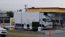Truck wedged in Canterbury service station forecourt roof, again