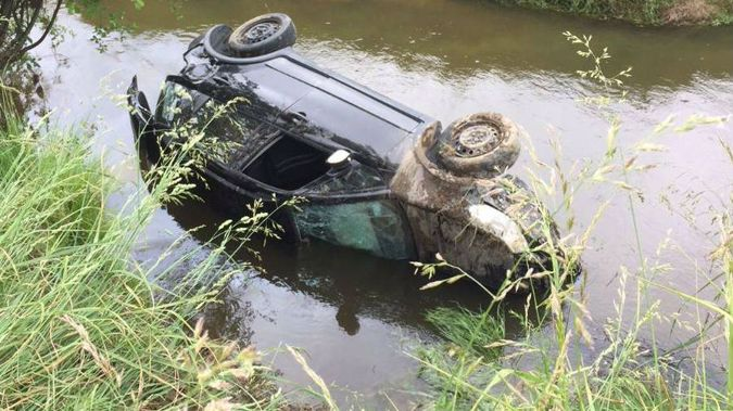 Academic Karin Speedy says she is lucky to survive a crash when her car left the road and ended upturned in a rural Waikato stream yesterday. (Photo / NZ Herald)
