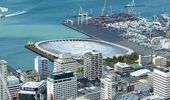 An artist's impression for a roofed version of the proposed new stadium on Auckland's Waterfront dubbed 'The Crater'