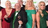 Brendan O'Carroll and family winning 'Best Comedy Act' at the National Television Awards London