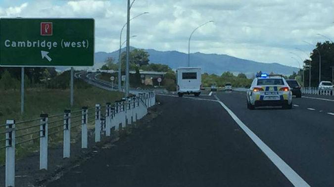 Police drove the campervan from the expressway. (Photo / Belinda Feek)