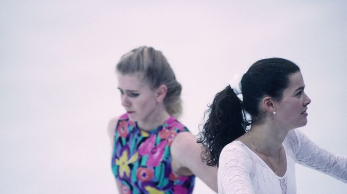 Tonya Harding and Nancy Kerrigan at a training session before the 1994 Winter Olympics. (Photo / Getty)