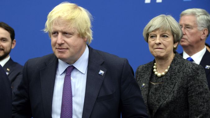UK Foreign Secretary Boris Johnson and Prime Minister Theresa May. (Photo \ AP)
