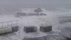 Wild waves throw concrete blocks on Kaikoura highway