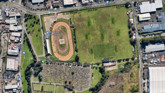 A photographer was critically injured when they were struck by a stock car at the Waikaraka Park Speedway this evening. (Image / Google Maps)