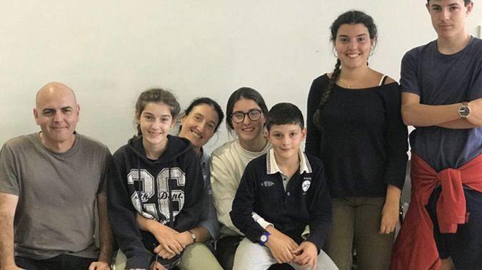Left to right: Gabriel, Irati, Anabel, Leiree, Inigo, Amaia and Michael Ros.