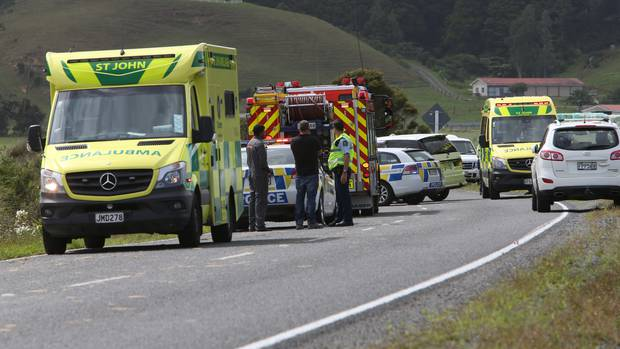 Police and emergency services at the scene of a serious accident on Jordan Valley Rd, Whangarei, which left a mum and her five children injured, two of them critically. (Photo / John Stone)