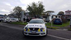 Police outside Te Puke Primary School this morning. Photo / Stuart Whitaker