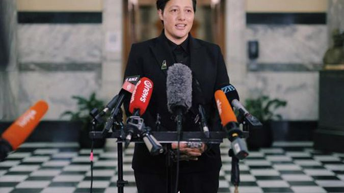 Labour MP Kiritapu Allan speaks to media on her return to Parliament after a cervical cancer diagnosis. Photo / RNZ