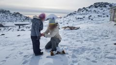 Mother and daughter on Whakapapa skifield. Police came onto the mountain to take the young girl away. Photo / Supplied