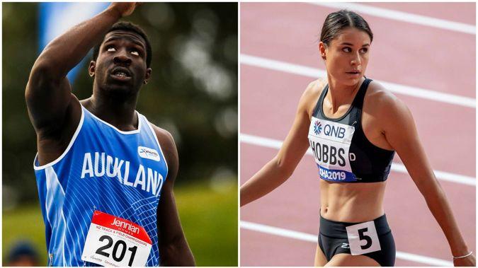 Kiwi sprinters Eddie Osei-Nketia and Zoe Hobbs. (Photos / Photosport)