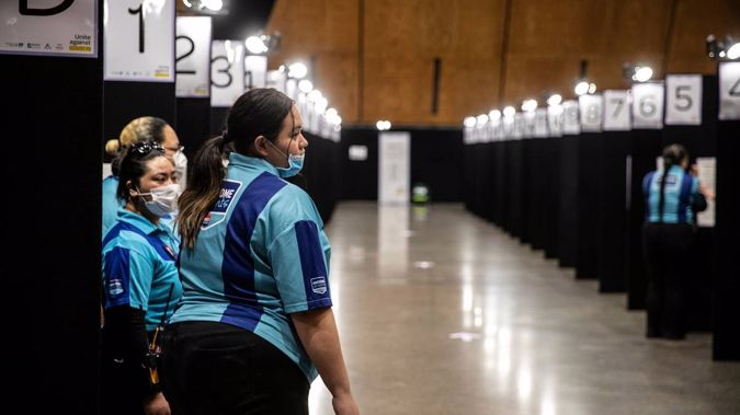 Security at the weekend's mass vaccination at Vodafone Events Centre in Manukau. (Photo / NZ Herald)