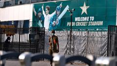 A police officer stands guard outside the Pindi Cricket Stadium following canceling of 1st one day international cricket match between Pakistan and New Zealand, in Rawalpindi. (Photo / AP)