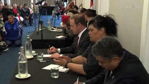 Minister of Treaty Negotiations Andrew Little and Maori Development Minister Nanaia Mahuta at an open hui for Ngapuhi. Photo / Maori Television