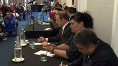 Minister of Treaty Negotiations Andrew Little and Maori Development Minister Nanaia Mahuta at an open hui for Ngapuhi. Photo / Maori Television