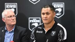 David Kidwell, right, during a Rugby League World Cup press conference as NZRL CEO Alex Hayton looks on. (Photo / Photosport)