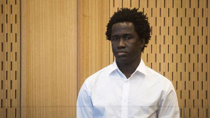 Sainey Marong stands in the dock of the High Court in Christchurch for the murder of Christchurch sex worker Renee Larissa Duckmanton.