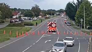 Northcote Rd was cordoned off between Cavendish Rd and Northfield Rd after a stabbing. (Photo / NZTA)