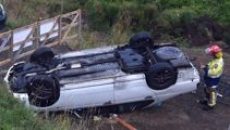 Car plunges over bank in Dunedin