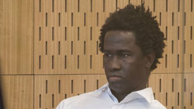 Sainey Marong sits in the dock at the High Court in Christchurch on trial accused of murdering Christchurch sex worker Renee Larissa Duckmanton. (Photo / Pool)