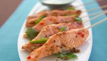 Grilled Balinese Salmon Kebabs With Minted Coconut Cream