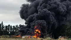 The tyre fire has been burning in Canterbury since Monday. (Photo / Leanne Ellis)