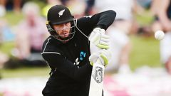 Martin Guptill in action against England on Mt Maunganui. (Photo \ Getty Images)