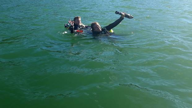 Paiha Dive instructors Richard Wales and Adam Scanlon after their successful mission. (Photo / Supplied)