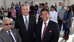 Giri Gupta with former Hastings mayor and National MP Lawrence Yule and businessman Bharat Guha in Hawke's Bay two years ago. (Photo / Duncan Brown)