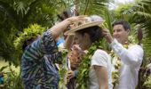 Prime Minister Jacinda Ardern, with her partner Clarke Gayford, is welcomed to Rarotonga. (Photo / Michael Craig)