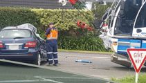 One person injured after car hit by a crane