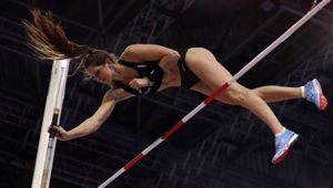 Eliza Mccartney at the World Athletics Indoor Championships in Birmingham. (Photo/ AP)