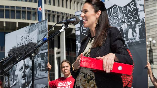 Prime Minister Jacinda Ardern speaking after receiving the End Oil petition from Greenpeace NZ at Parliament. Photo / Mark Mitchell