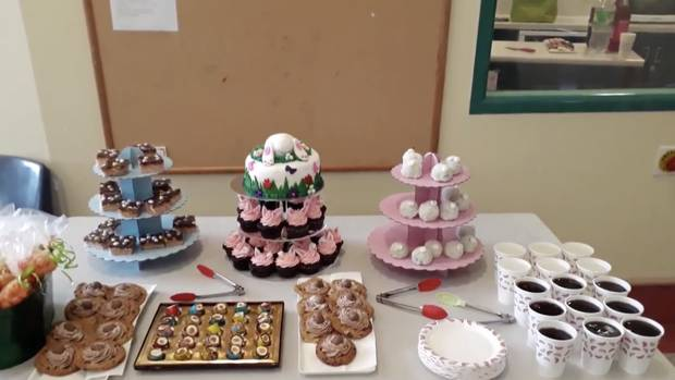 The video showed a table laden with sweet treats for Easter. (Photo / Waitemata DHB video)