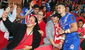 Tongan fans posing for photos (Image \ Photosport)