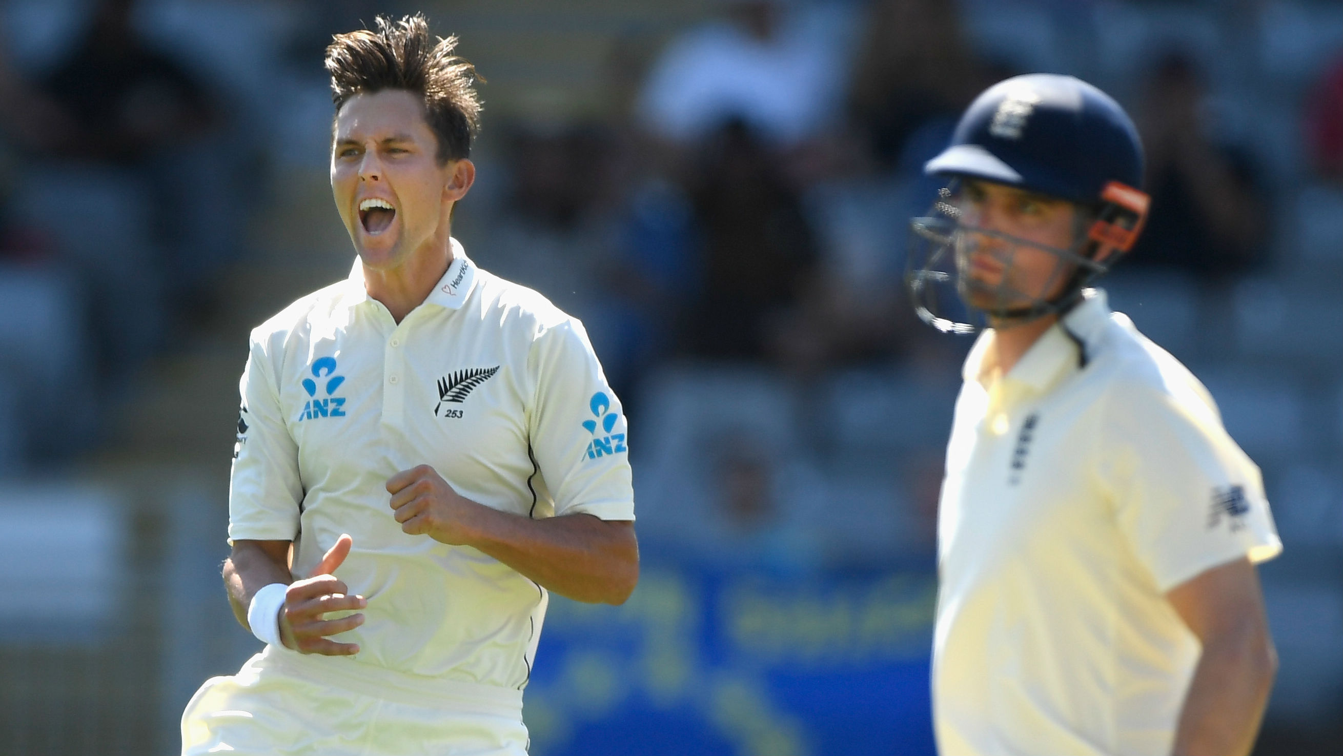 Trent Boult celebrates having Alastair Cook caught behind for just five runs. (Photo \ Getty Images)