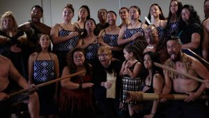 Ed Sheeran poses for photos after a powhiri he asked for as he had not faced one before. (Photo/ Supplied)
