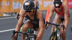Andrea Hewitt was the last of the Kiwis to finish in the women's triathlon this morning. (Photo \ Getty Images)