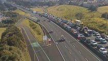 Major delays as digger blocks citybound lanes on Northern Motorway