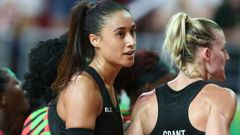 Maria Folau and Katrina Grant react after the Silver Ferns' loss to Malawi at the Commonwealth Games. (Photo \ Getty Images)